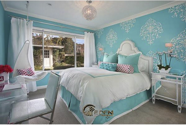 Phòng ngủ màu xanh ngọc Tân cổ điển