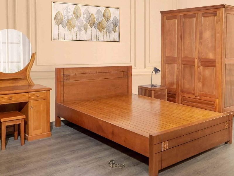 Mẫu giường tủ xoan đào cho phong ngủ sang trọng, ấm áp