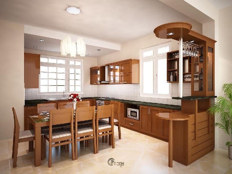 Mẫu thiết kế nội thất phòng bếp hiện đại gỗ xoan đào