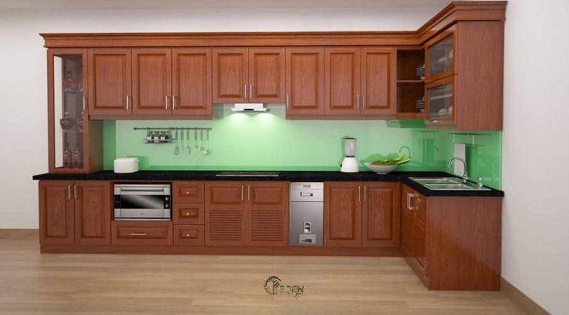 Mẫu tủ bếp xoan đào dáng chữ L đơn giản nhưng vẫn giữ được nét sang trọng, tinh tế