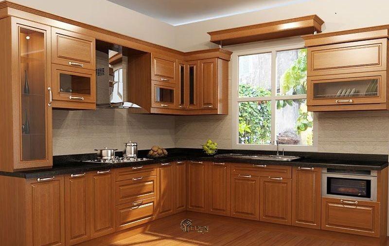 Mẫu tủ bếp xoan đào dáng chữ L đơn giản kết hợp với cửa sổ phòng bếp giúp không gian trở nên thoáng mát hơn
