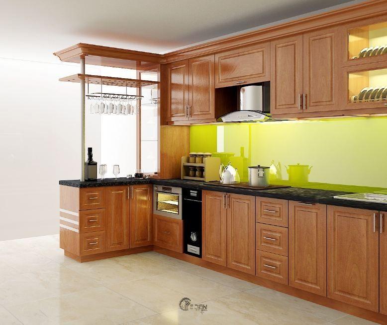 Mẫu tủ bếp xoan đào dáng chữ L đơn giản, gọn gàng cho chung cư