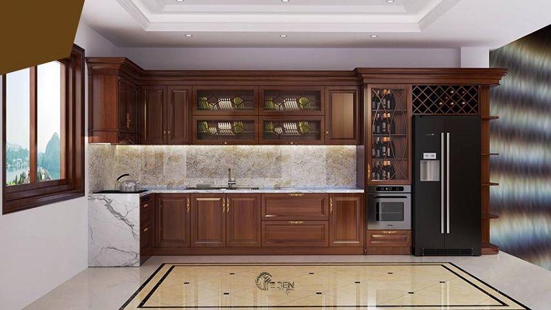 Mẫu tủ bếp xoan đào ấn tượng cho phòng bếp mang hơi hướng cổ điển