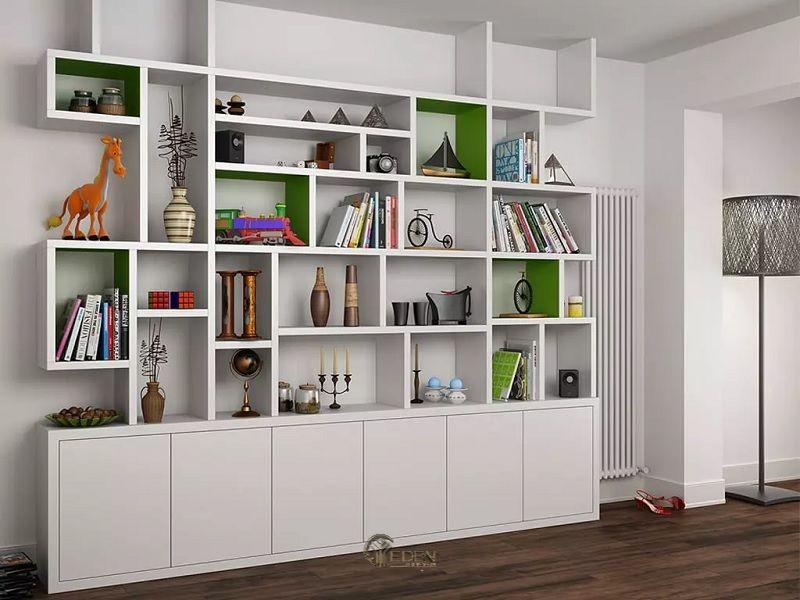 Ý tưởng 8: Mẫu kệ đứng lớn dành cho phòng khách hiện đại