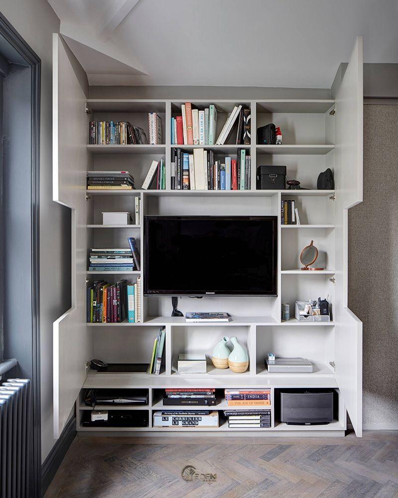 Ý tưởng 9: Mẫu kệ đứng kết hợp kệ tivi trong phòng khách