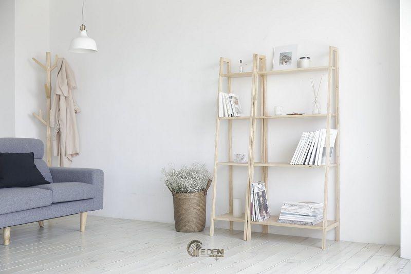 Ý tưởng 1: Mẫu kệ sách đứng đơn giản mang phù hợp với phong cách nội thất tối giản