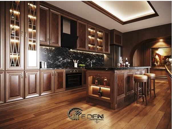 Phòng bếp với nội thất gỗ đẹp mắt