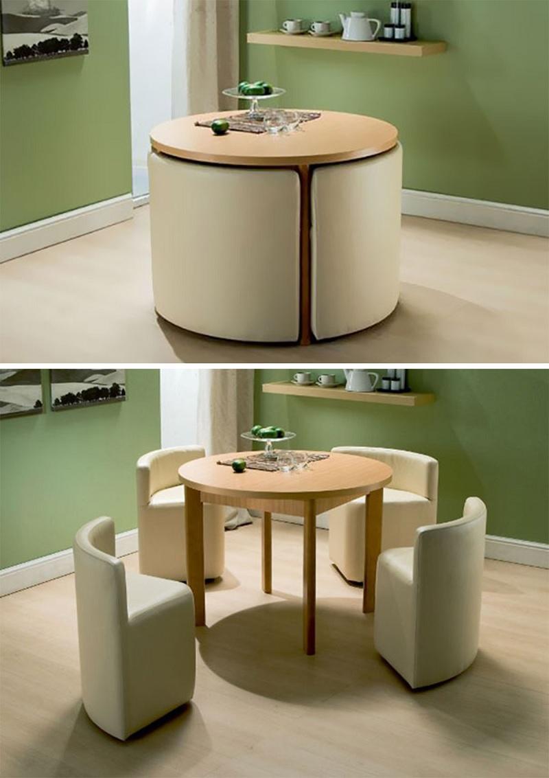 Mẫu bàn ăn dáng tròn thông minh phù hợp với không gian tối giản hiện đại