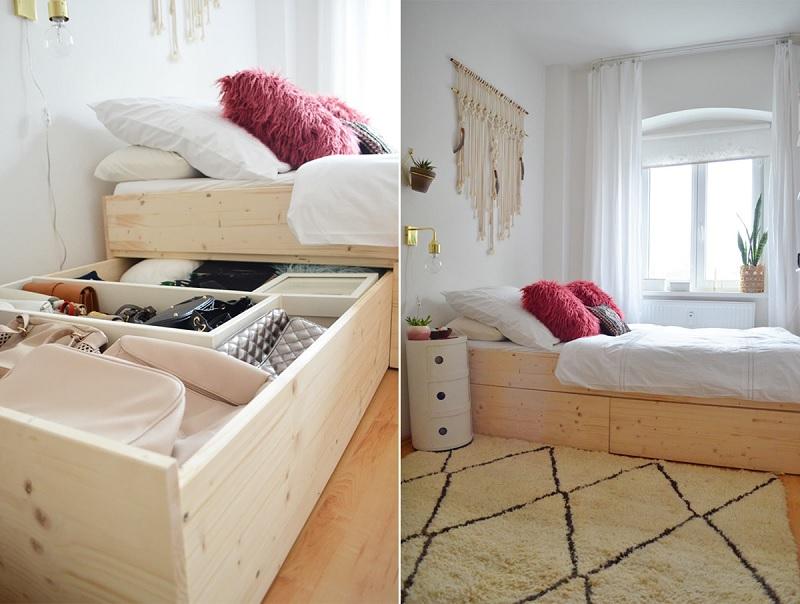 Mẫu giường đơn thông minh kết hợp ngăn để đồ rộng rãi