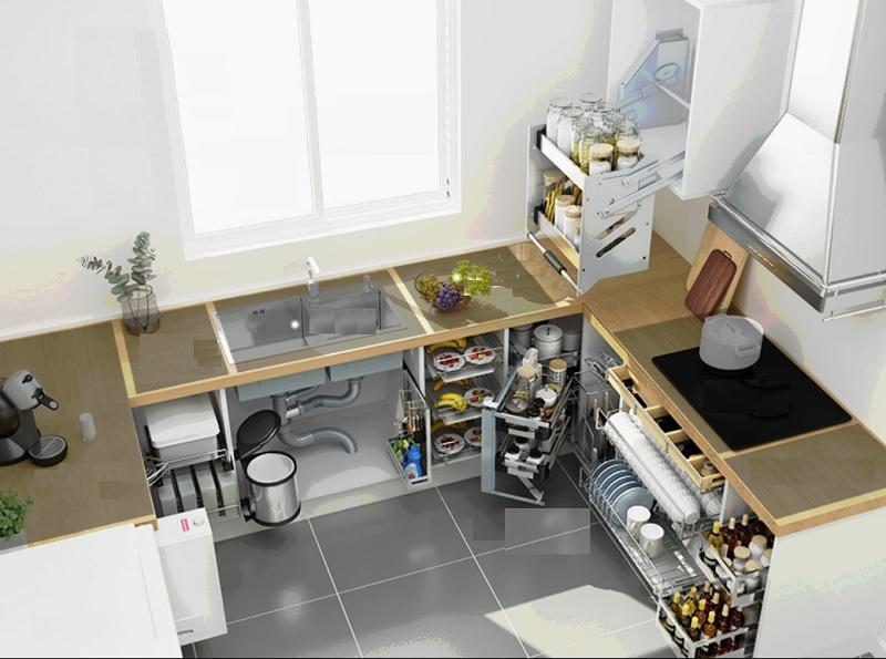 Mẫu tủ bếp thông minh đa chức năng giúp căn bếp gia đình luôn gọn gàng sạch sẽ