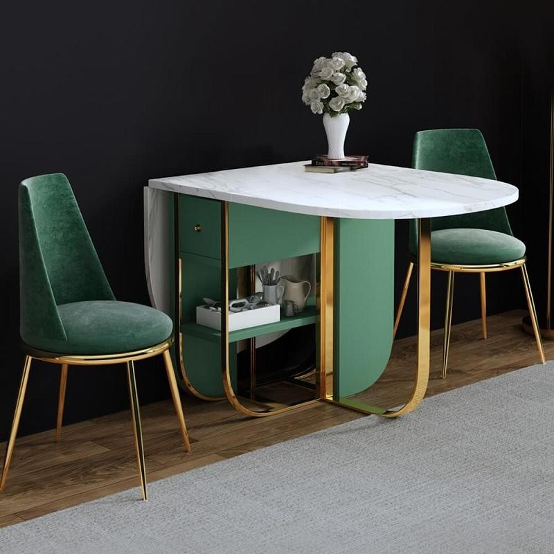Mẫu bàn ăn thông minh phù hợp với không gian cổ điển, tân cổ điển với đường nét tinh tế, sang trọng