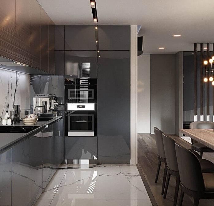 Nội thất phòng bếp sang trọng với bàn ăn gỗ sồi cao cấp