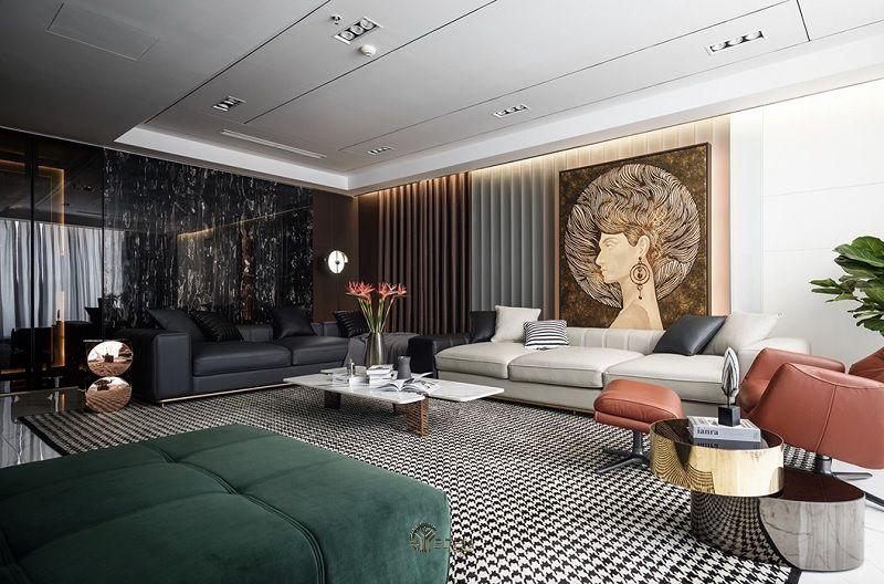 Các món đồ nội thất nên tạo ra một tuyên bố táo bạo nhưng đồng thời phải đơn giản và gọn gàng, không có đường cong hoặc trang trí.