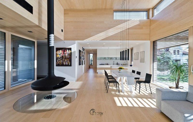 Sàn nhà theo phong cách đương đại nên để trần và nhẵn, sử dụng gỗ, ngói hoặc nhựa vinyl.
