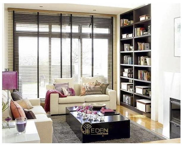 Không gian phòng khách thêm hiện đại bởi sự kết hợp từ những chiếc giá sách