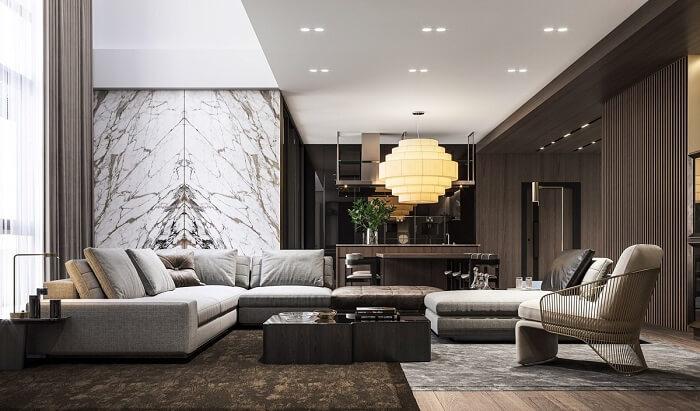 Phòng khách liền bếp với thiết kế thi công nội thất cao cấp