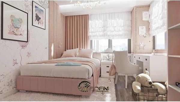 Phòng ngủ màu hồng pastel nhẹ nhàng, đáng yêu