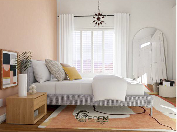 Kệ đầu giường, sàn nhà vân gỗ giúp tăng yếu tố thẩm mỹ cho căn phòng