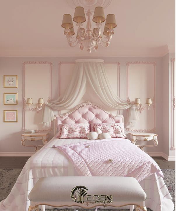 Phòng ngủ tràn ngập màu hồng ngọt ngào