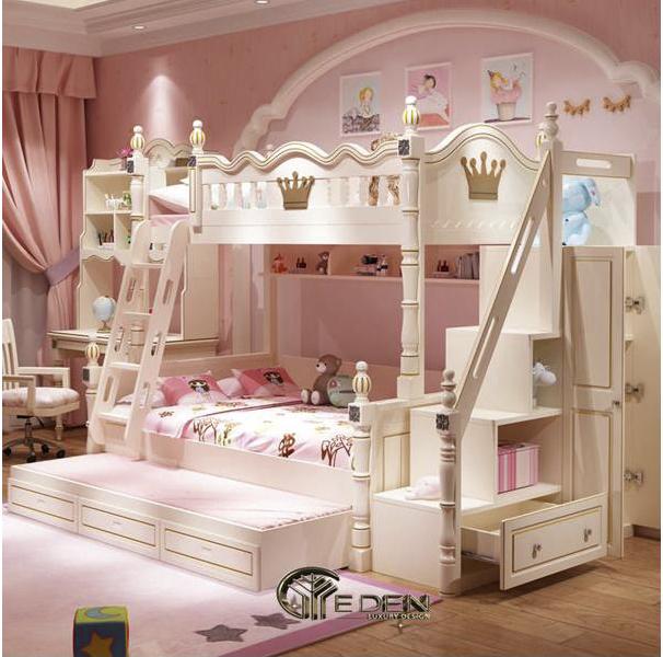 Trang trí phòng ngủ màu hồng với nội thất giường tầng