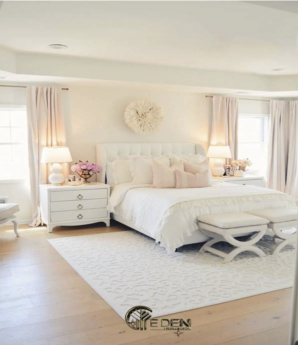 Phòng ngủ màu hồng pastel kết hợp với màu trắng