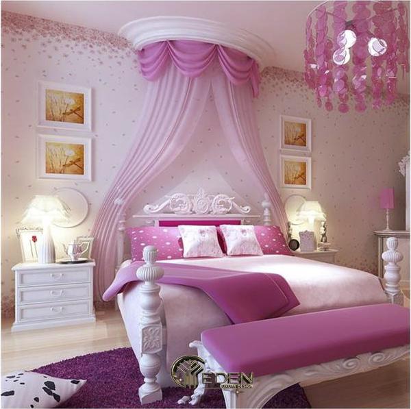 Các chi tiết màu hồng và tím được kết hợp hài hòa, trang nhã