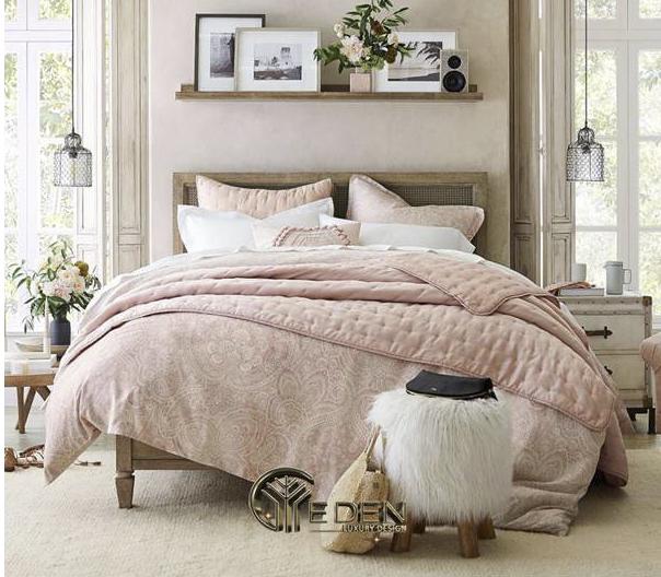 Phòng ngủ vợ chồng màu hồng hiện đại, ngọt ngào