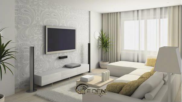 Rèm vải hai lớp dùng trong phòng khách chung cư