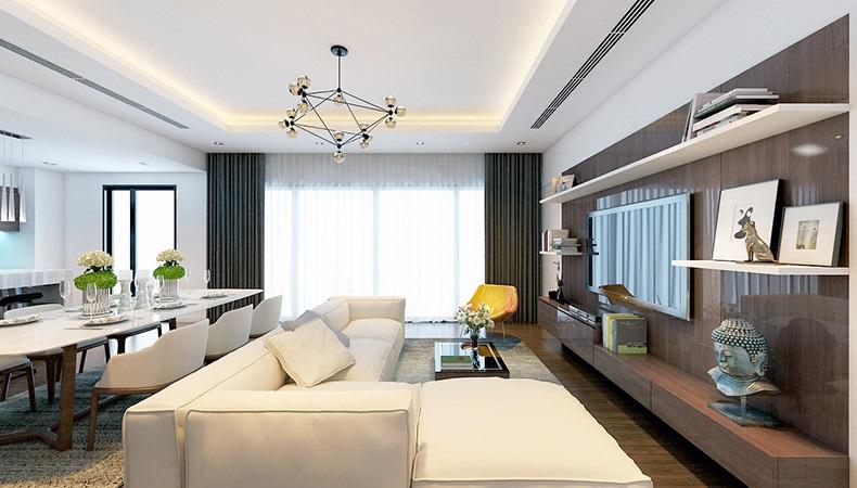 Phòng khách liền bếp căn hộ cao cấp golden palace