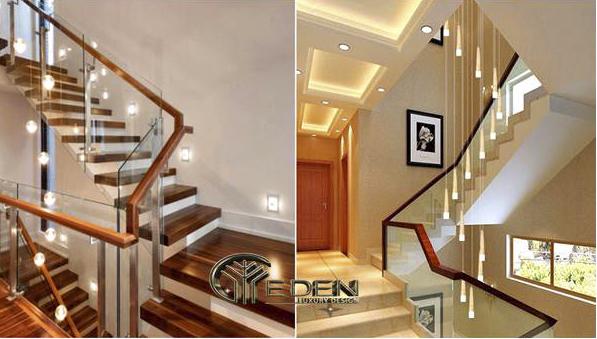 Bố trí đèn và lan can vịn cho cầu thang