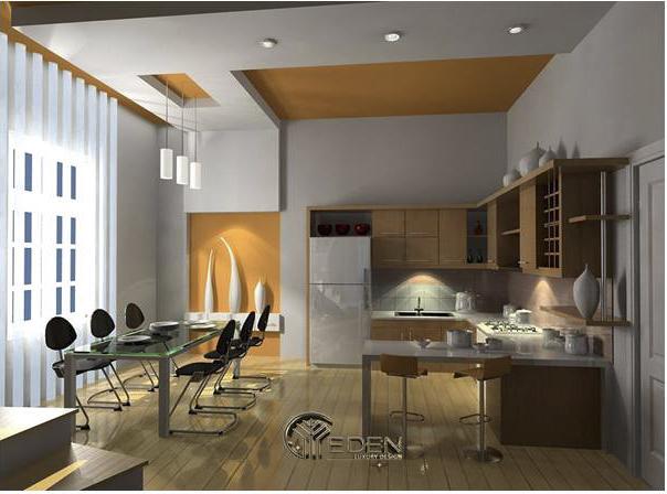 Trần thạch cao trang trí phòng bếp nổi đơn giản, tinh tế