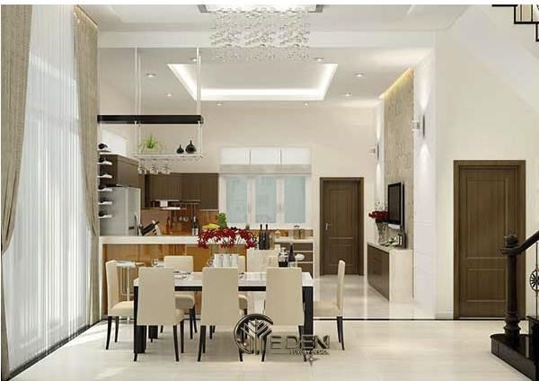 Phòng bếp gia đình đẹp và rộng