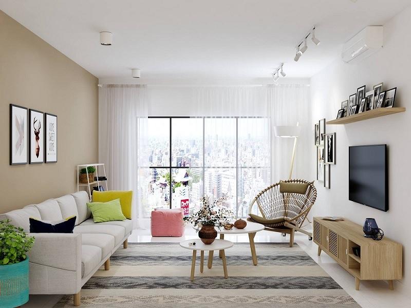 Những mẫu trang trí phòng khách chung cư tối giản 8