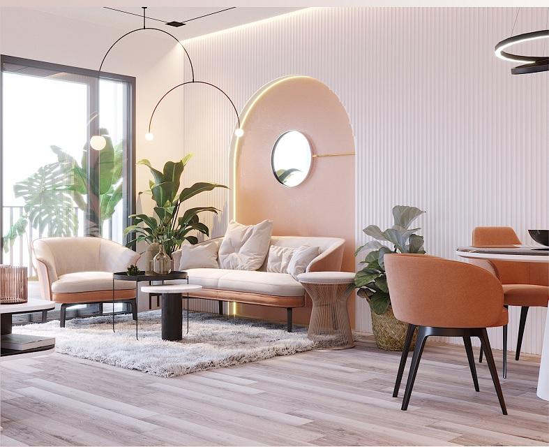 Những mẫu trang trí phòng khách chung cư tối giản 9