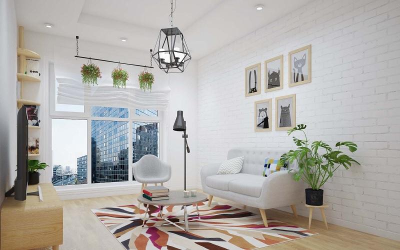 Những mẫu trang trí phòng khách chung cư tối giản 1
