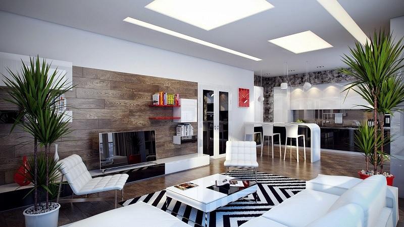 Những mẫu trang trí phòng khách chung cư tối giản 10