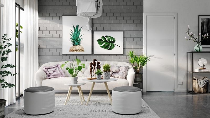 Những mẫu trang trí phòng khách chung cư tối giản 5