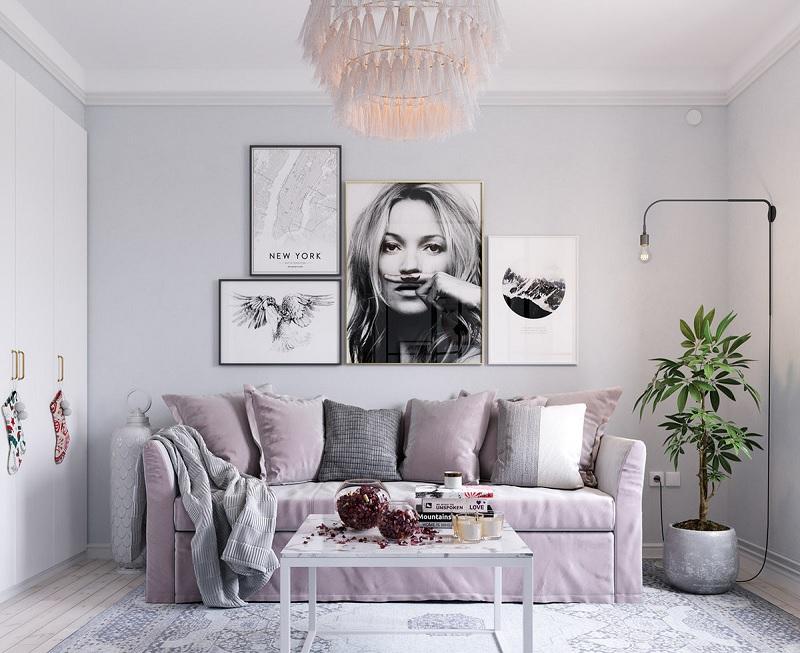 Những mẫu trang trí phòng khách chung cư tối giản 2