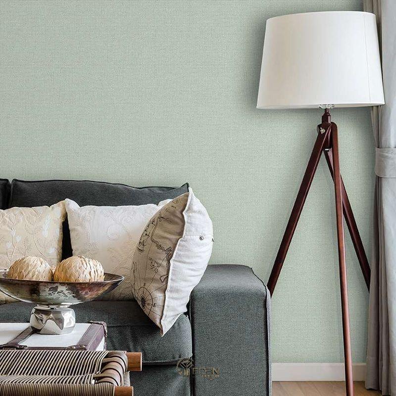 Mẫu phòng khách với giấy dán tường màu xanh Pastel nhẹ nhàng cổ điển