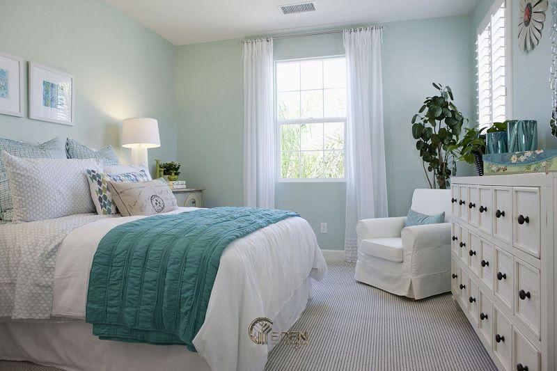 Mẫu phòng ngủ tươi dáng, mát mẻ với gam màu xanh Pastel
