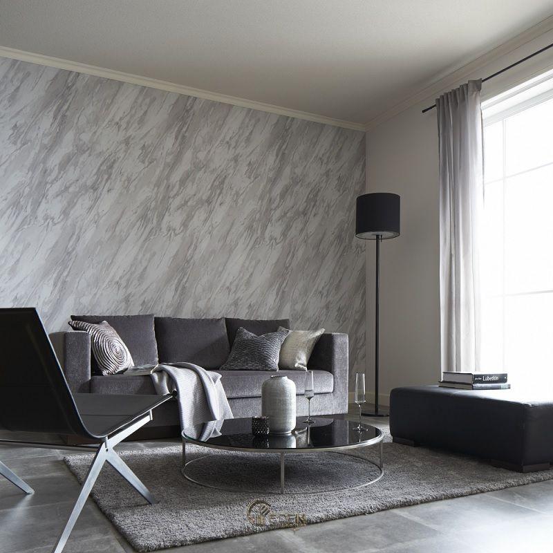 Mẫu phòng khách hiện đại với giấy dán tường xám trắng khác biệt