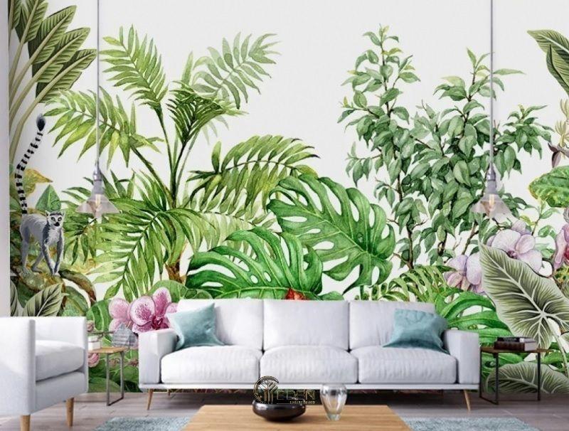 Mẫu phòng khach với giấy gián tường họa tiết cây cối xanh tươi