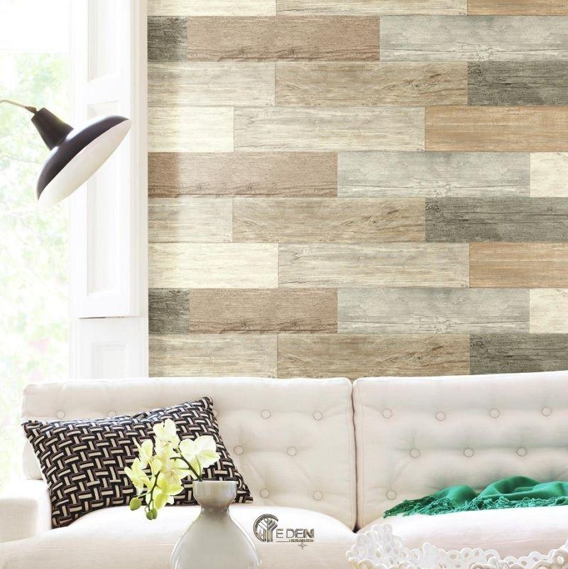 Trang trí phòng khách với giấy dán tường giả gỗ