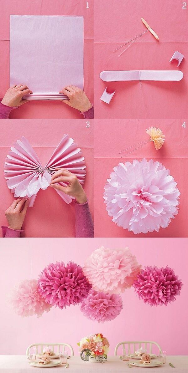 Trang trí tường với hoa giấy hình cầu độc đáo