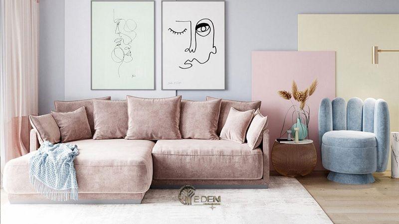 Mẫu phòng khách trang trí với giấy dán tường màu tím Lavender nhẹ nhàng