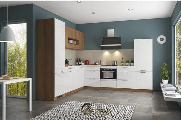 Tủ bếp acrylic màu trắng tinh tế, hiện đại