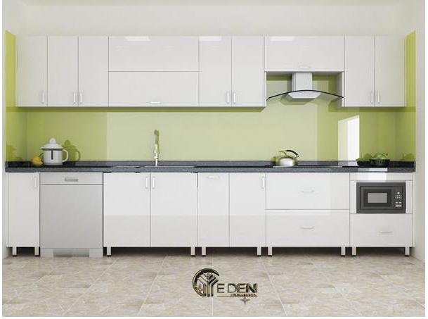 Tủ bếp Acrylic hiện đại kết hợp máy hút mùi độc đáo