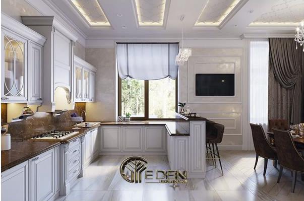 Màu sơn tủ bếp kết hợp hài hòa với tường nhà