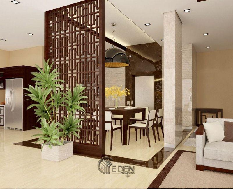 Vách ngăn phòng khách và bếp chất liệu gỗ tự nhiên