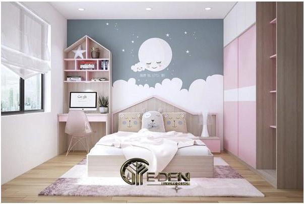 Kiểu trang trí tường bằng giấy decal dễ thương cho con gái